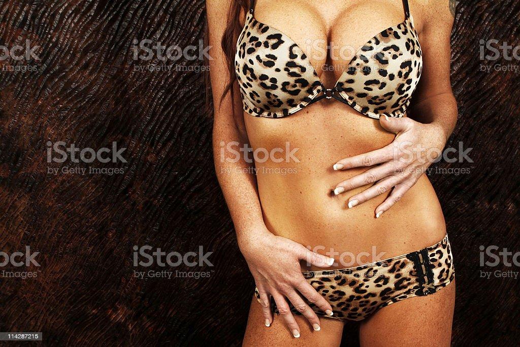 Sexy body of a lady in leopard underwear stock photo