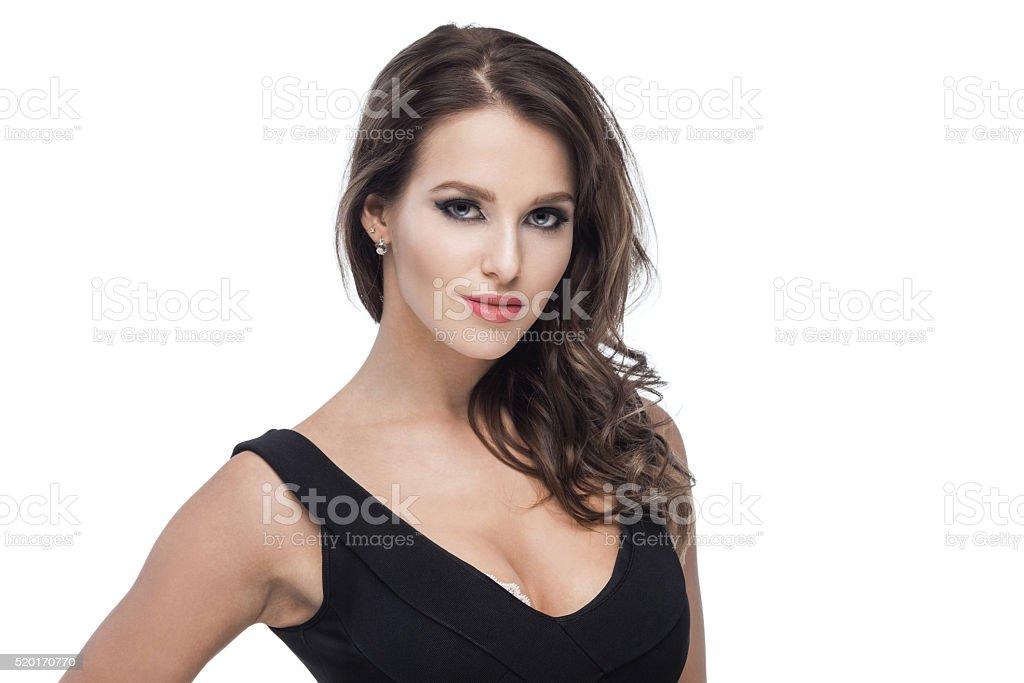 Sexy brunette babe stock photo