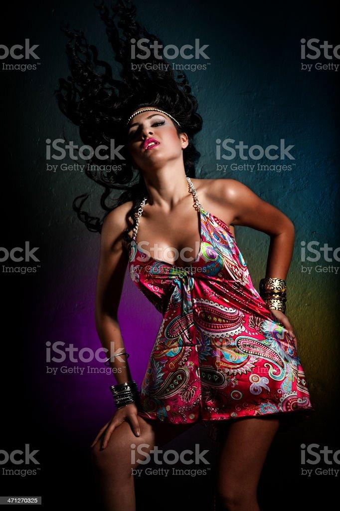 Sexy brunette dancing stock photo
