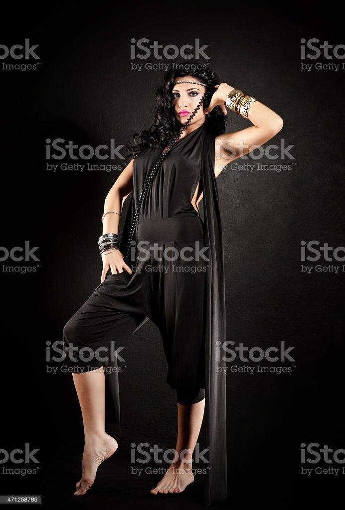 Sexy brunette DJ stock photo