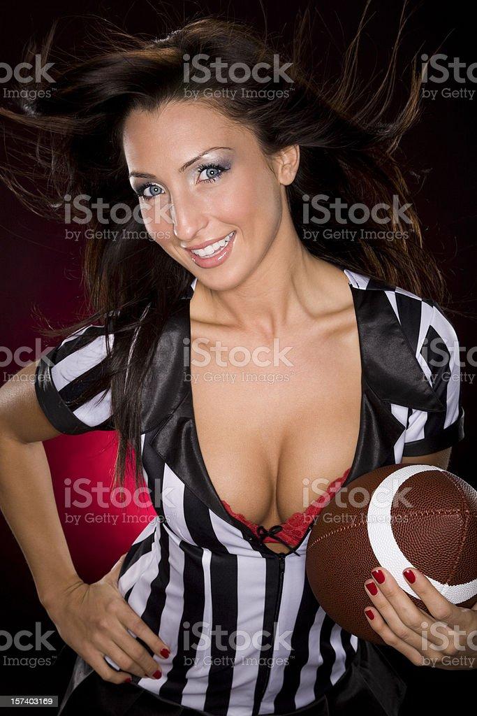 Sexy Brunette Football Fantasy Girl stock photo