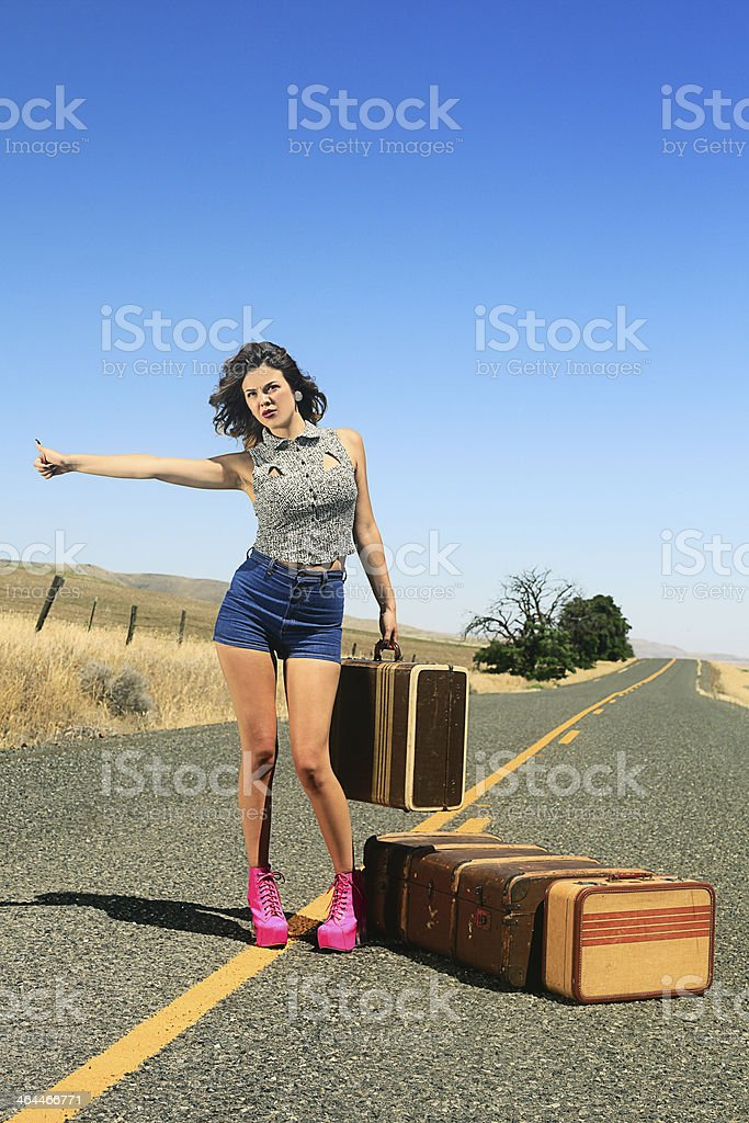 Sexy Brunette Hitch Hiker royalty-free stock photo