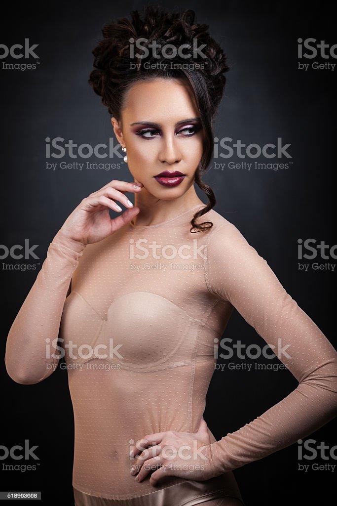 Sexy brunette lady stock photo