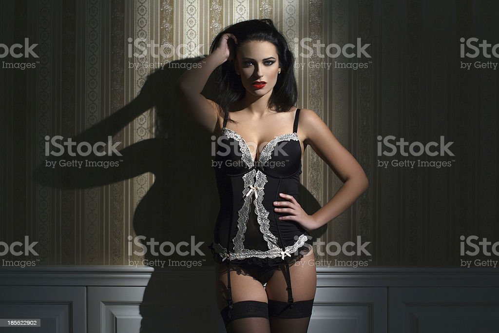 Sexy brunette model at night royalty-free stock photo