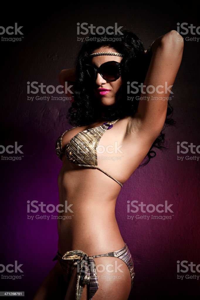 Sexy brunette with sunglasses stock photo
