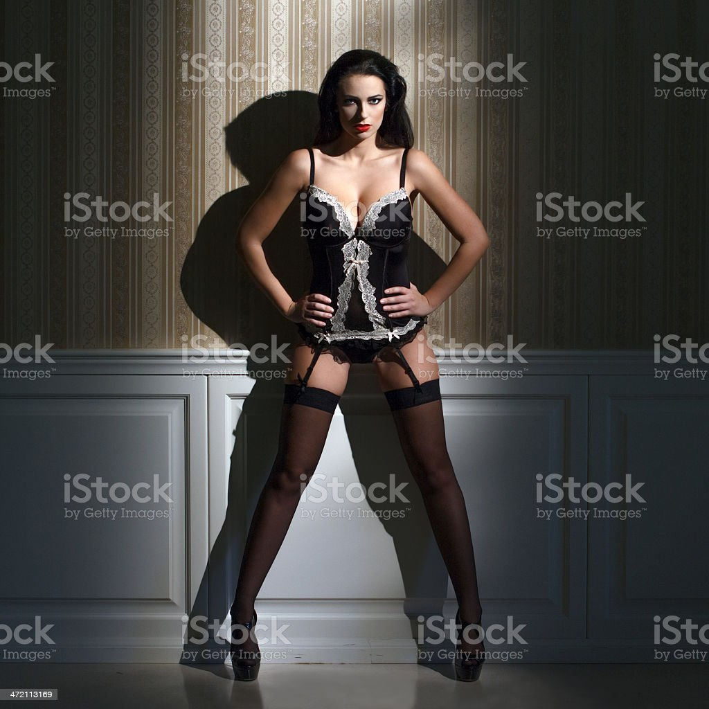 Sexy brunette woman at night royalty-free stock photo