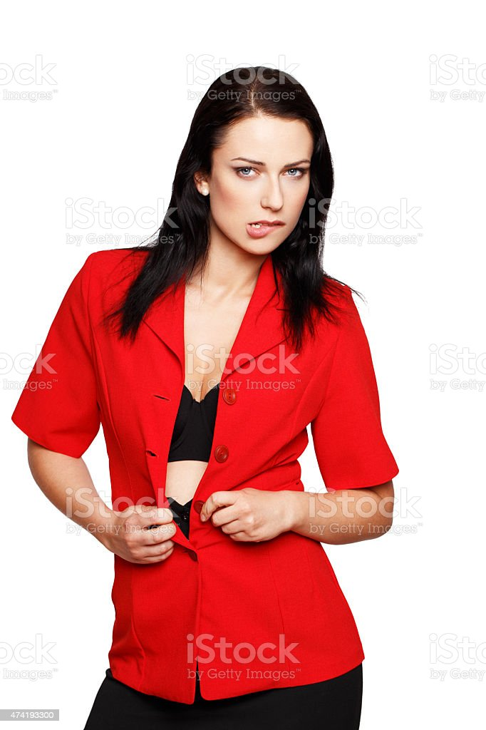 Sexy brunette woman take off red suit stock photo