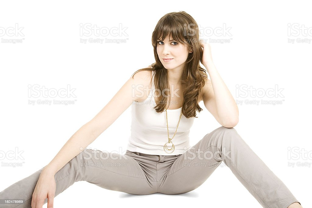 Sexy brunette young woman stock photo