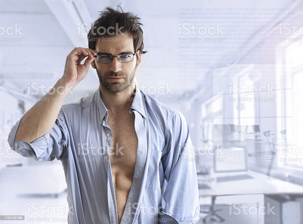 Sexy business guy stock photo