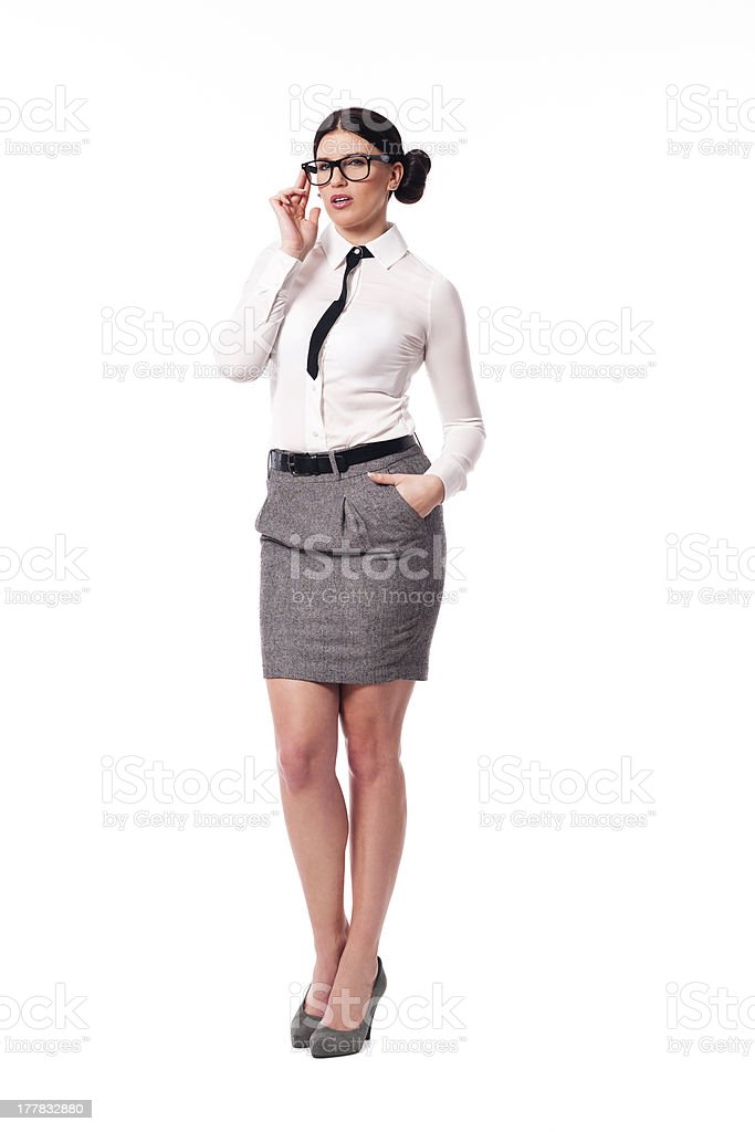 Sexy businesswoman with glasses royalty-free stock photo