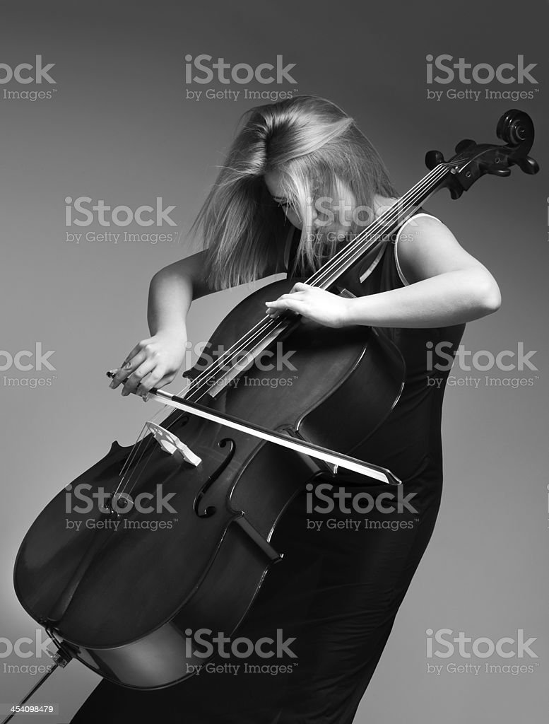 Sexy cellist stock photo