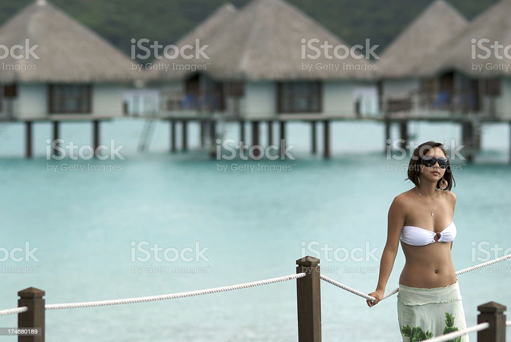 Sexy Chinese Girl in French Polynesia Vacation stock photo