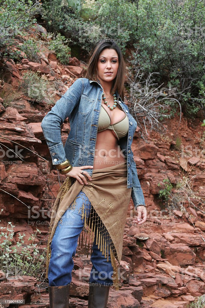 Sexy,  confident woman in the southwest stock photo