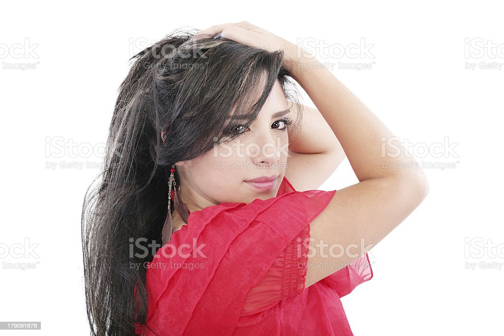 sexy cool and serious looking woman stock photo