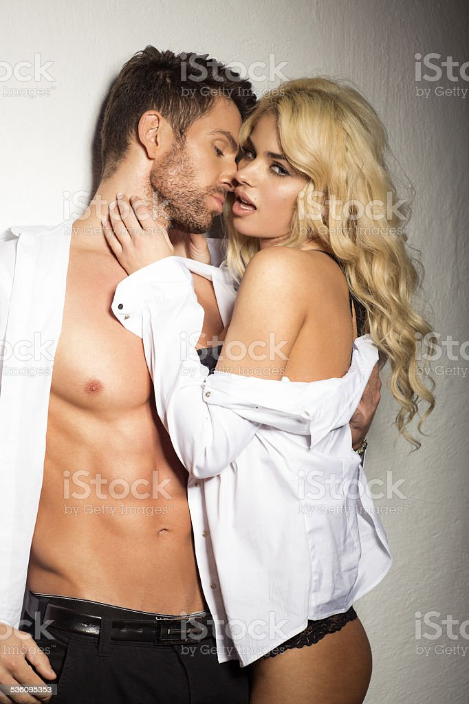Sexy couple in white shirt stock photo