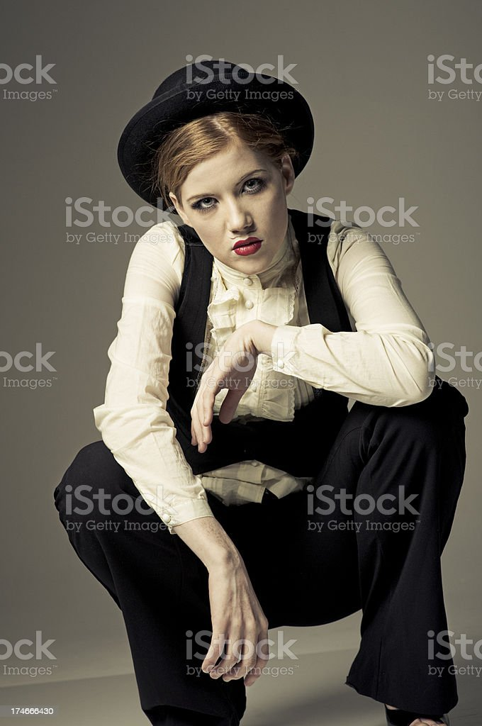 sexy cross dresser poses with attitude royalty-free stock photo