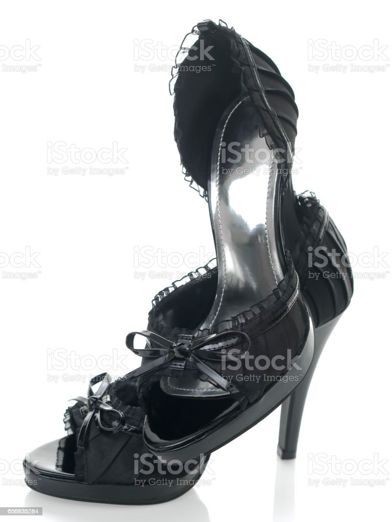 Sexy & delicate shoes defyng gravity 3/4 view stock photo
