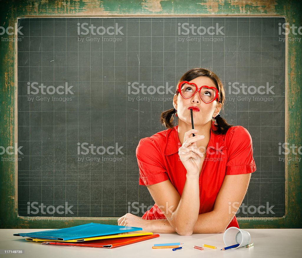 Sexy dreamy young student royalty-free stock photo
