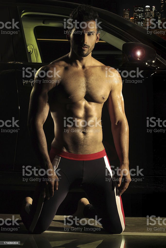 Sexy dude at night royalty-free stock photo