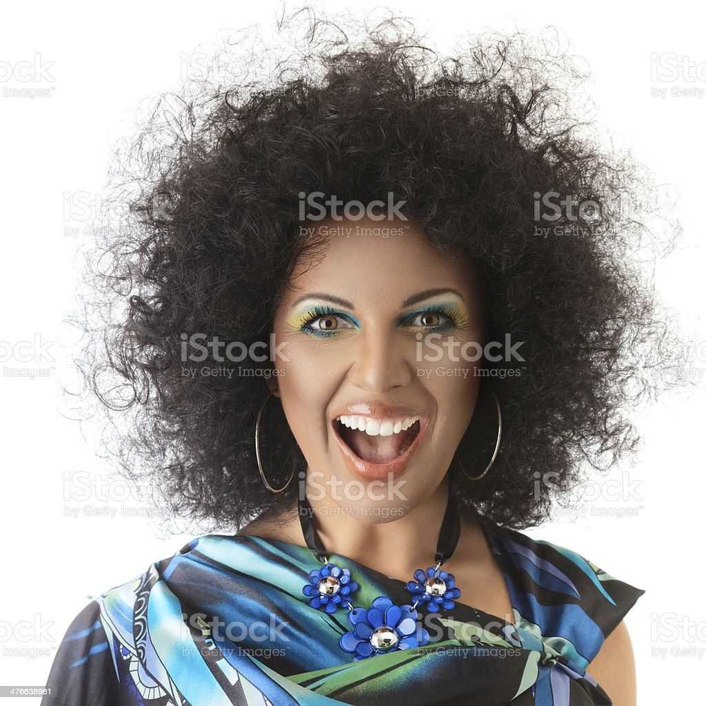 Sexy fashion model face with african style make-up royalty-free stock photo