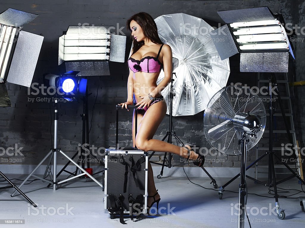 Sexy fashion model in the studio royalty-free stock photo