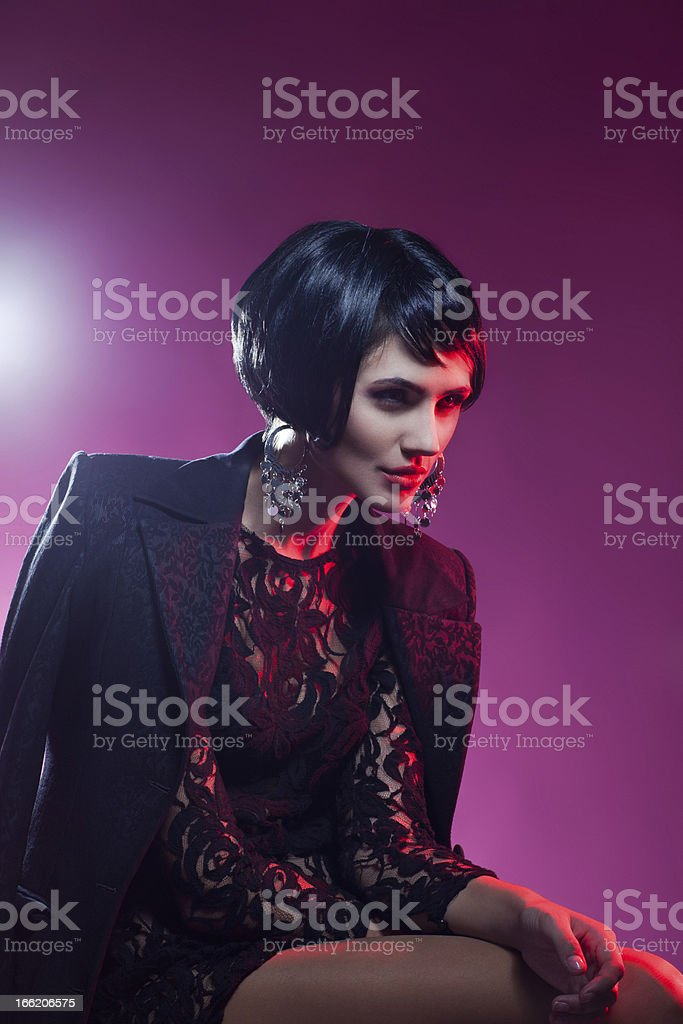 Sexy Fashionl Woman in Black Guipure Dress. Professional Makeup royalty-free stock photo