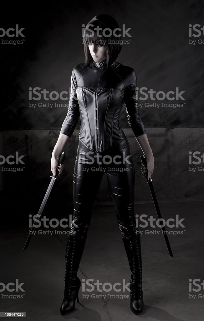 Sexy female assassin series stock photo