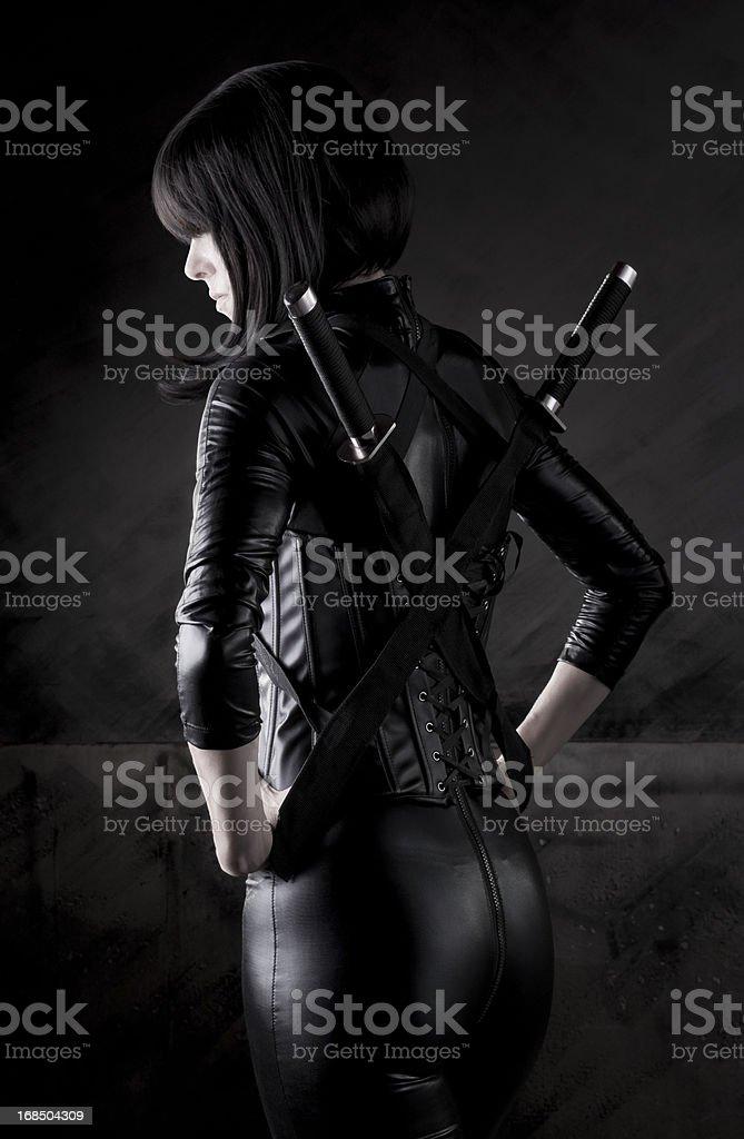 Sexy female assassin series stock photo