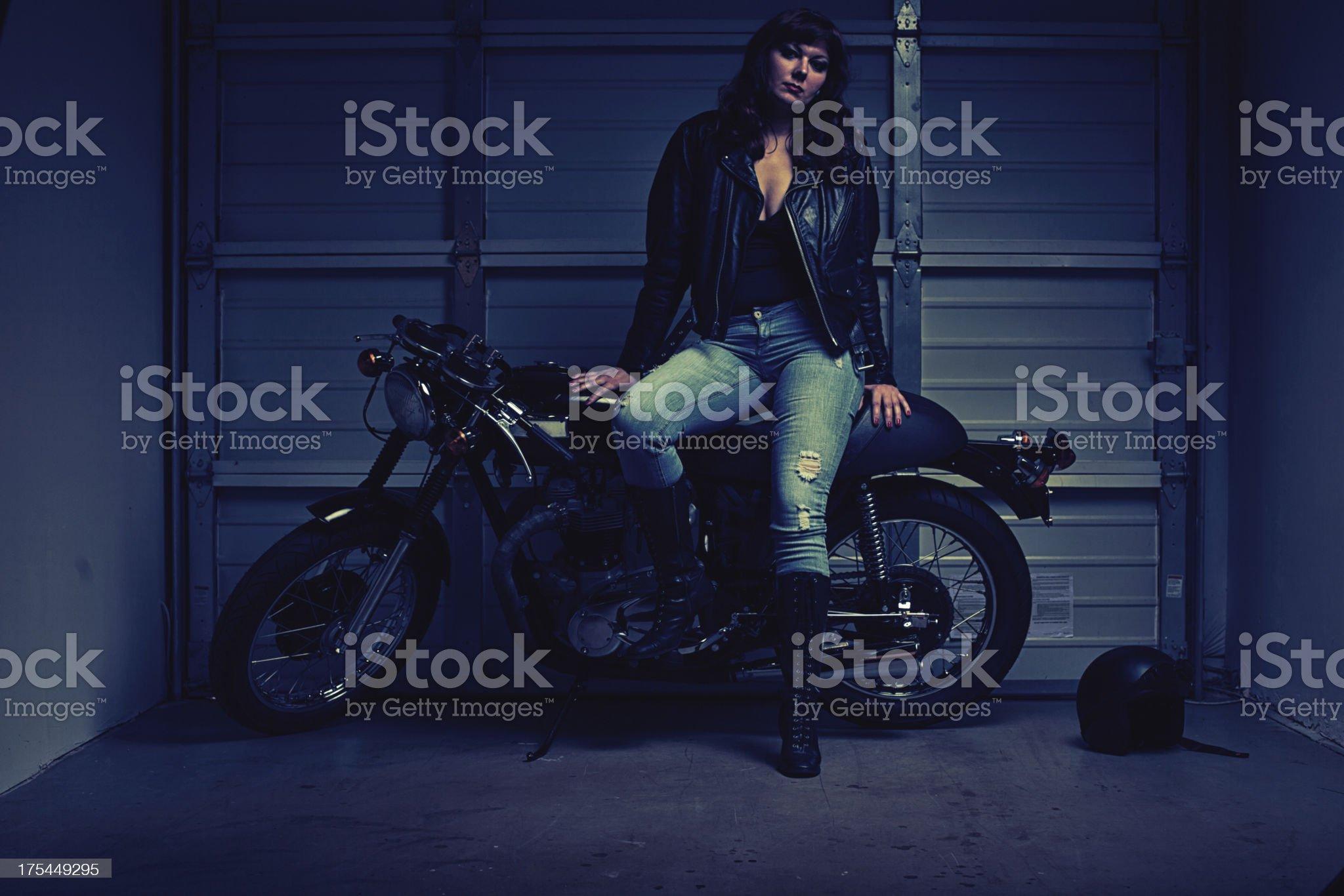 sexy female biker royalty-free stock photo