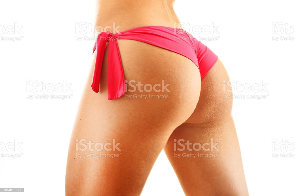Sexy female buttocks isolated on white background stock photo