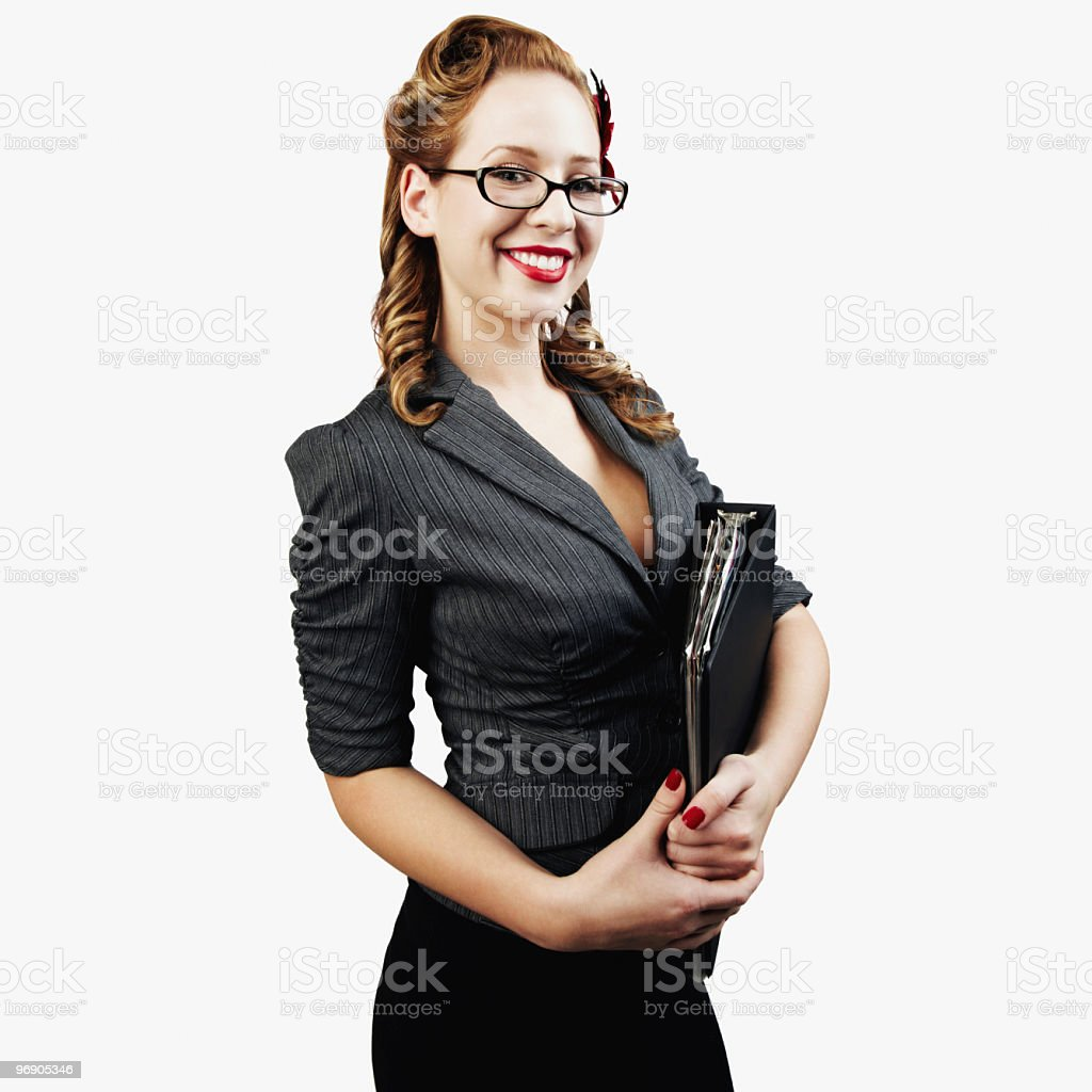 Sexy Female College Student Holding Notebook and Smiling. Isolated stock photo