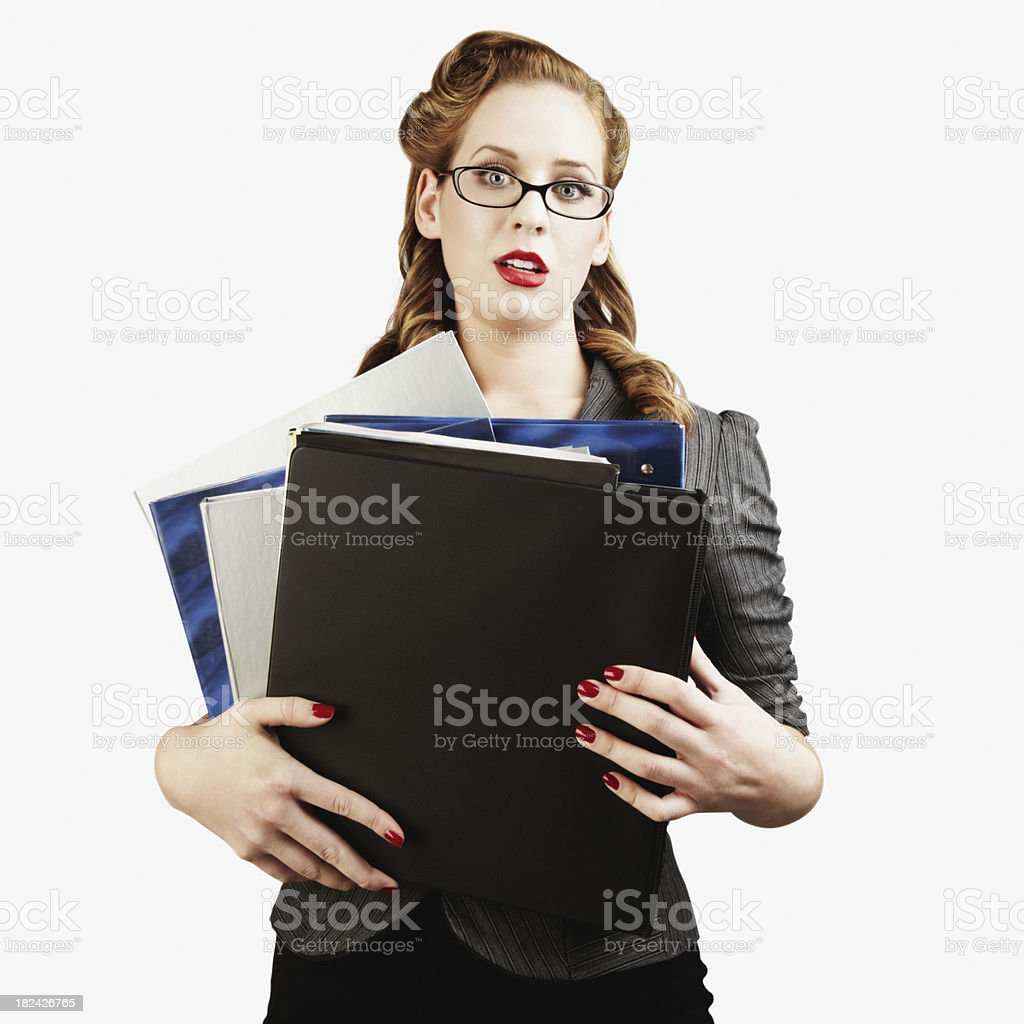 Sexy Female College Student Holding Notebooks. Isolated royalty-free stock photo