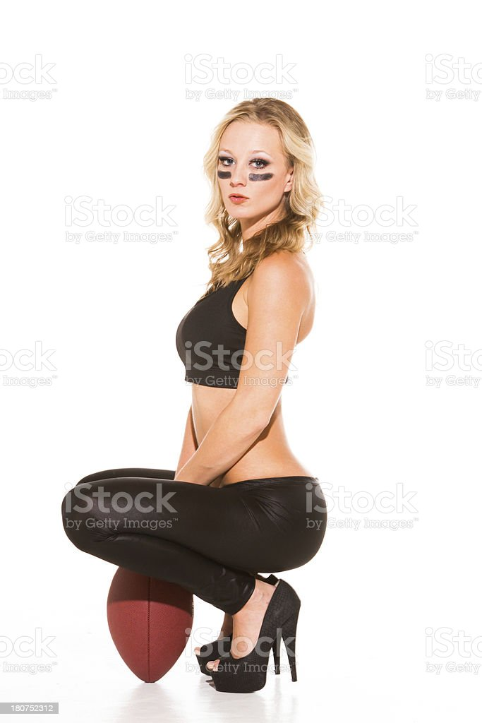 Sexy female football player royalty-free stock photo