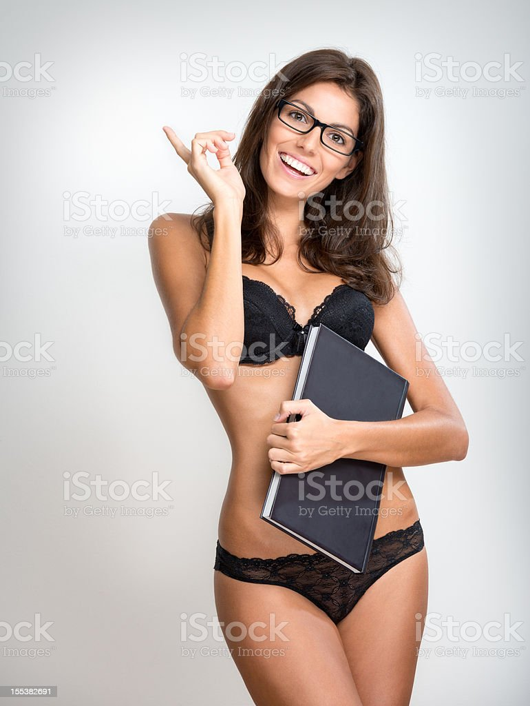 Sexy Female Student Teacher with Glasses in Lingerie (XXXL) royalty-free stock photo