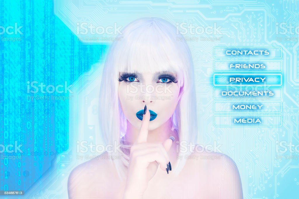 Sexy female virtual assistant keeping the secret stock photo