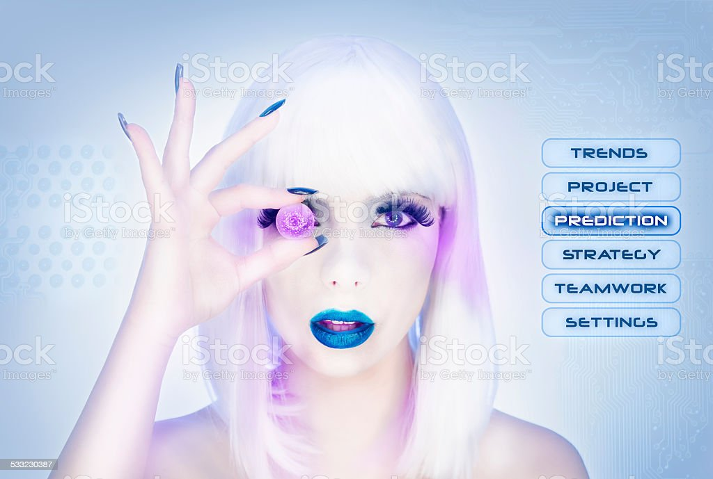 Sexy female virtual assistant trying to see the future stock photo