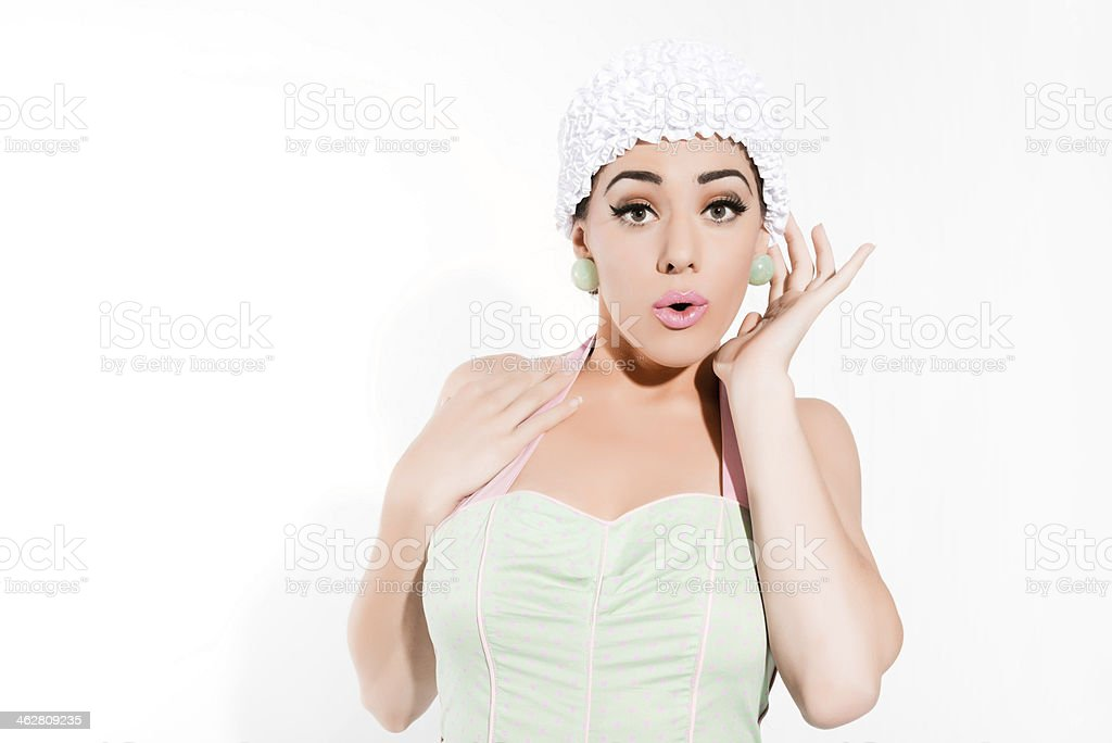 Sexy fifties pin-up girl with swimming cap. stock photo