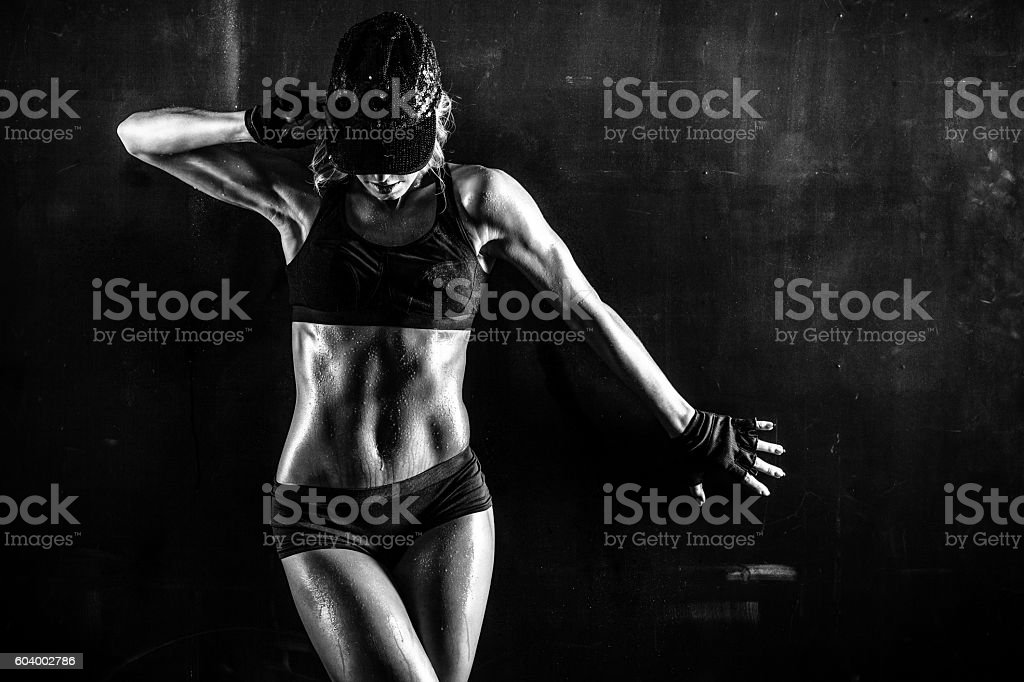 Sexy fit babe stock photo