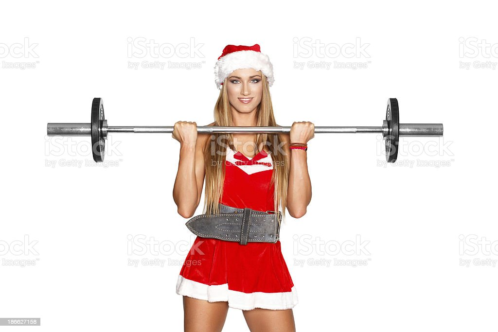Sexy fitness model with barbell royalty-free stock photo