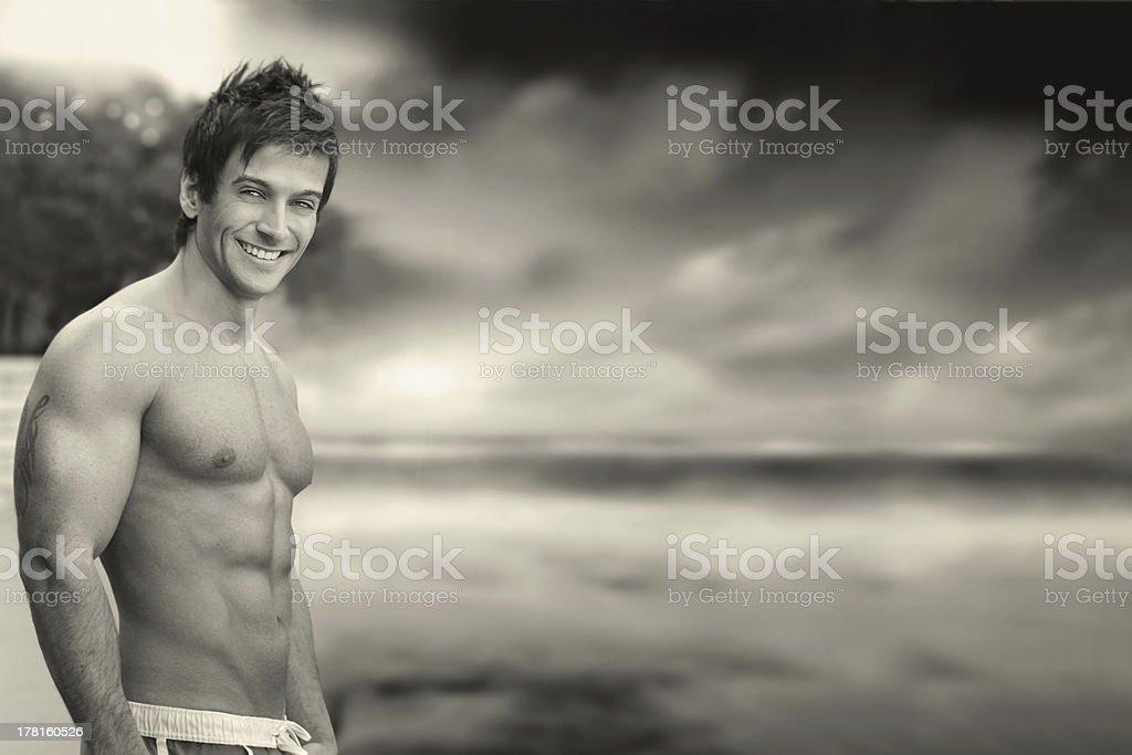 Sexy fun guy outside royalty-free stock photo