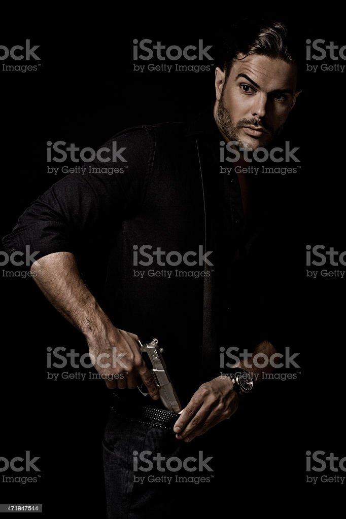 sexy gangster holding gun stock photo