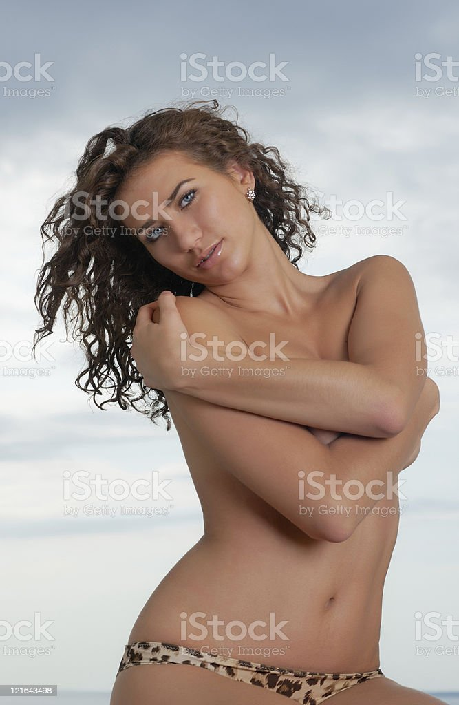 sexy girl against the sky stock photo