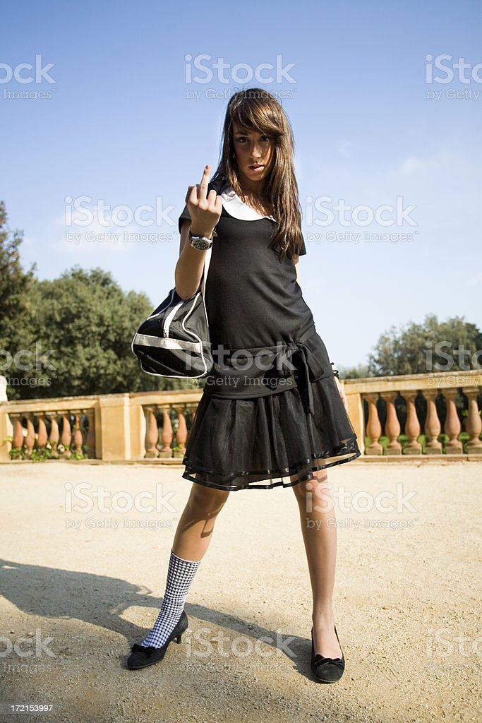 Sexy Girl Flip Off royalty-free stock photo