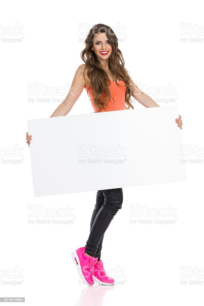 Sexy Girl Holding Poster stock photo