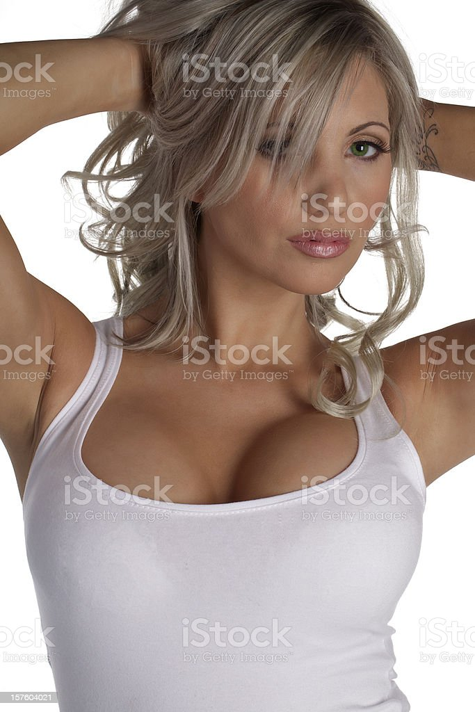 Sexy Girl in a White T-shirt stock photo