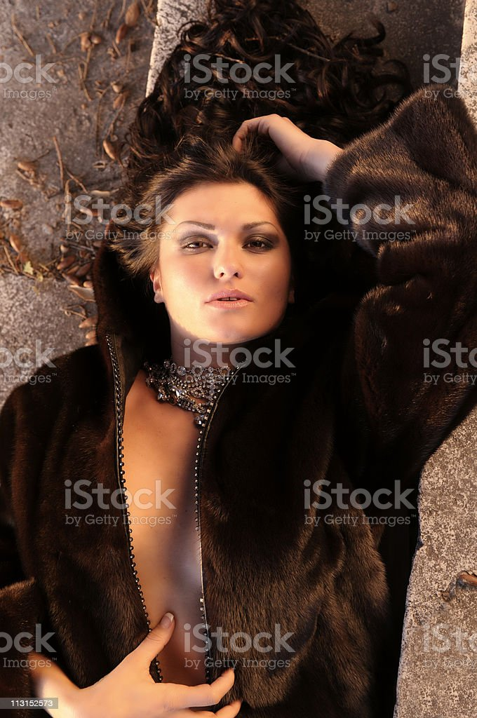 Sexy Girl in Fur royalty-free stock photo