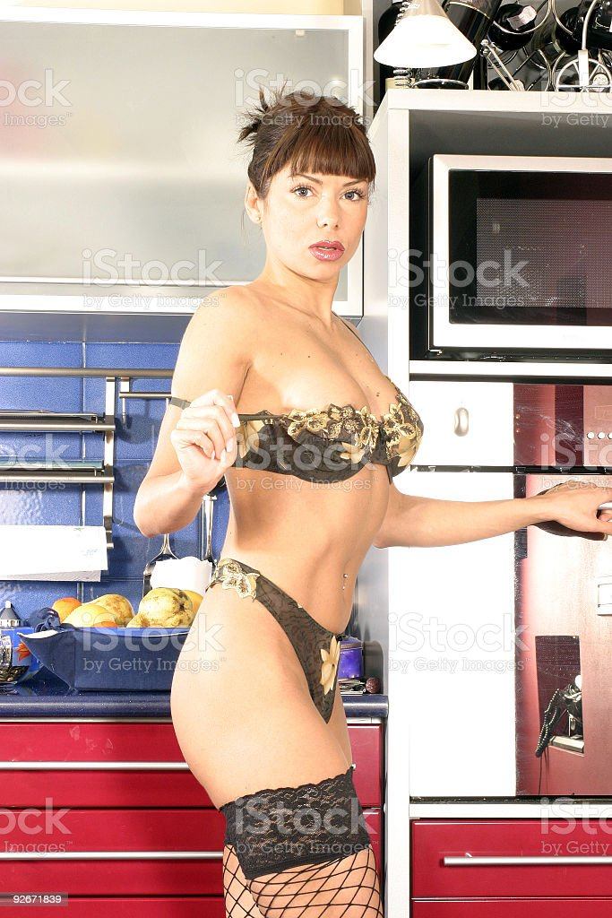 sexy girl in kitchen 02 royalty-free stock photo