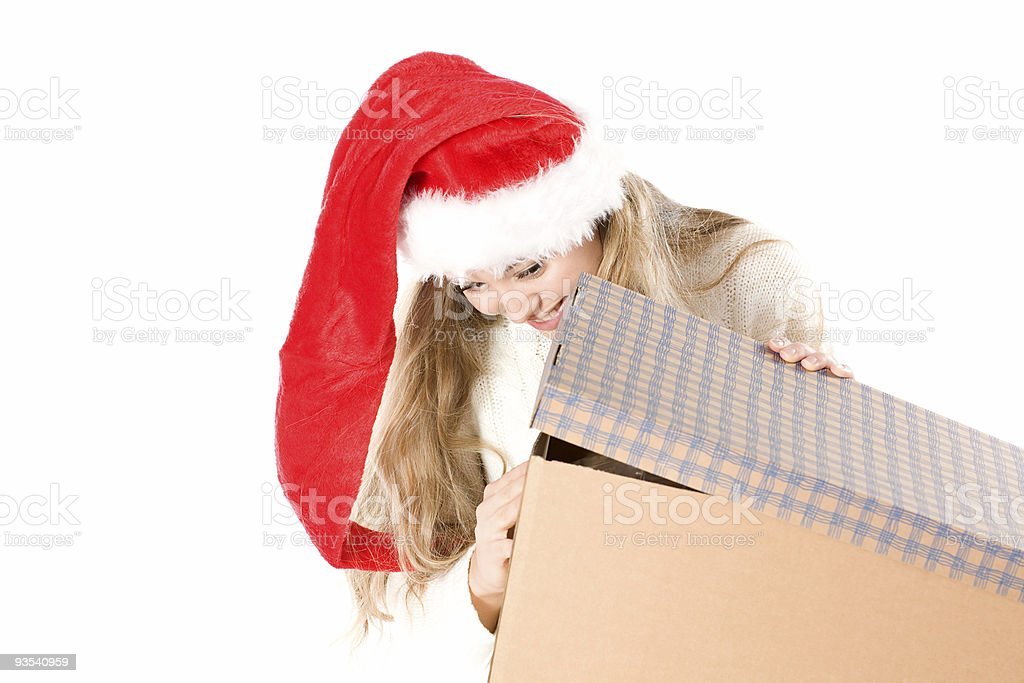 Sexy girl in Santa Hat  with a gift royalty-free stock photo