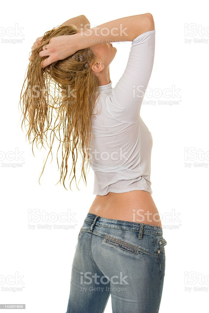 Sexy girl in wet clothes. royalty-free stock photo