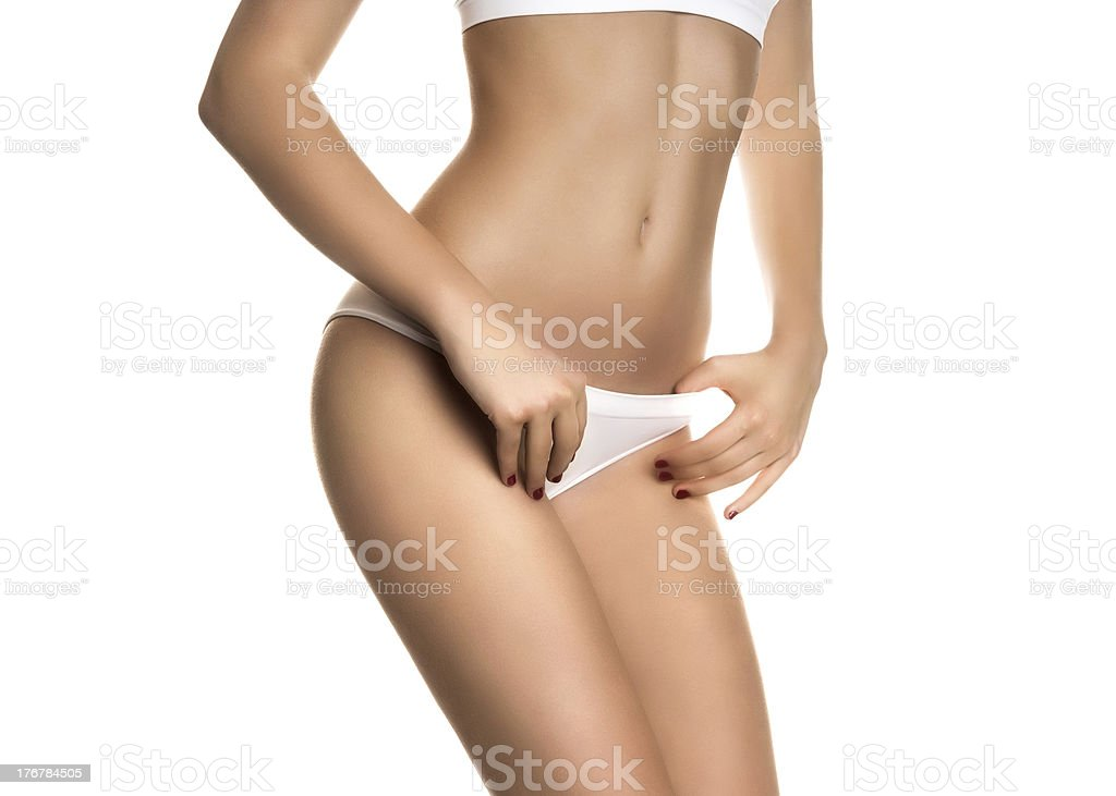 Sexy girl in white panties stock photo